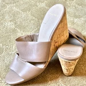 Cole Haan size 5 Beige Wedge with Cork Base